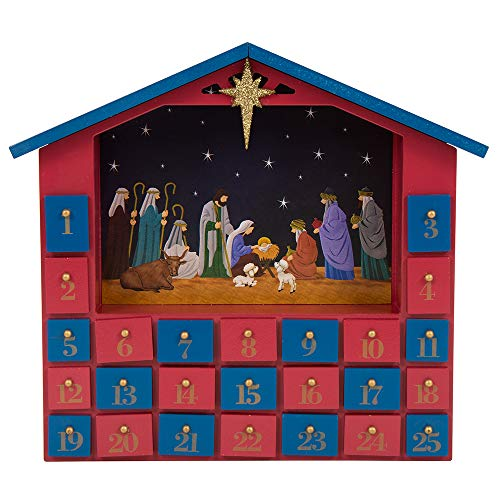 Glitzhome Handcrafted Wooden House Christmas Countdown Advent Calendar with Drawer ()