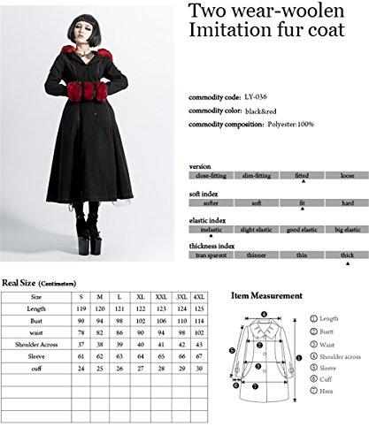 Gothic Lolita Style Woolen Fur Coat Steampunk Autumn Winter Fashion Long Sleeve Hooded Long Jackets (L, Black) by Punk (Image #3)