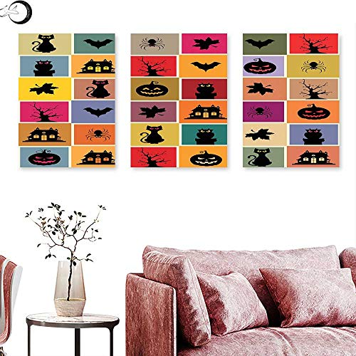 J Chief Sky Vintage Halloween Landscape Canvas Bats Cats Owls Haunted Houses in Squraes Halloween Themed Darwing Art Triptych Wall Art Multicolor Triptych Art Canvas W 12
