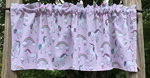 Unicorn Rainbow Magical Dreams Silver Metallic Heart Hoof Raining Hearts Girl White Unicorns on Pink Handcrafted Cotton Curtain Valance