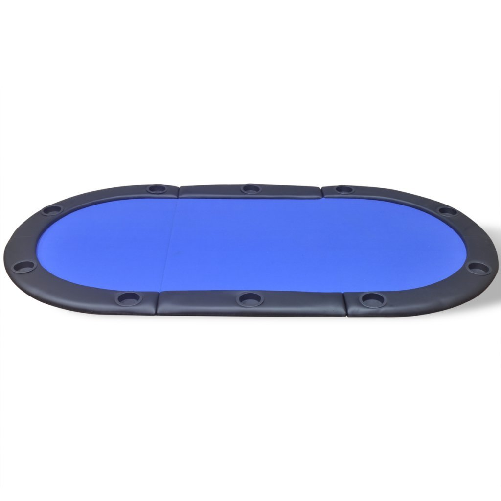 vidaXL Faltbare Poker-Tischauflage f/ür 10 Spieler Pokertischauflage Poker Blau