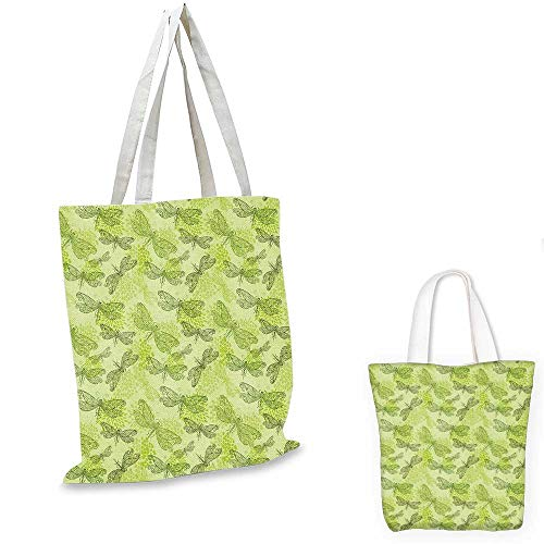 Dragonfly canvas messenger bag Sketchy Butterfly Like Bugs with Floral Ivy Print Wings Artwork fruit shopping bag Pale Green and Dark Green. 14