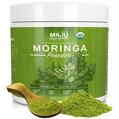 MAJU's Organic Moringa Powder: NON-GMO, Guaranteed Purest, 100% Raw Moringa by Maju Superfoods
