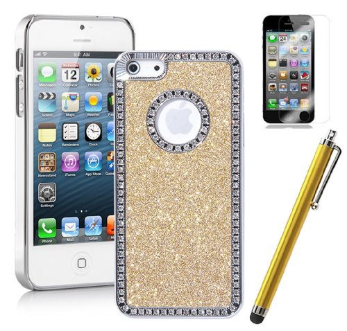 Pandamimi ULAK(TM) Deluxe Diamond Rhinestone Glitter Bling Chrome Hard Case Cover for Apple iPhone 5 5G + Screen Protector + Matching Stylus (Gold), Outdoor Stuffs