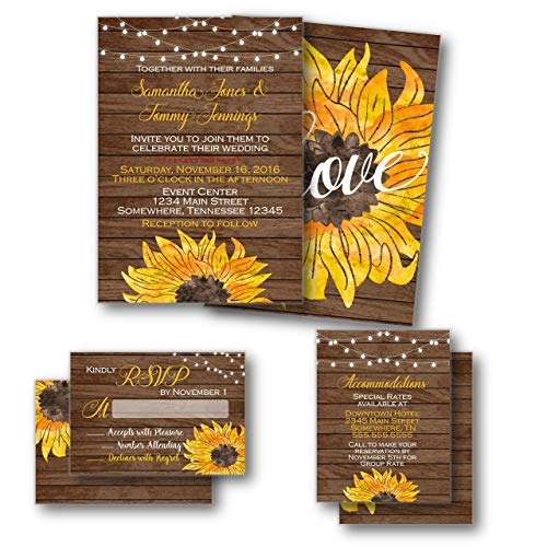 Wedding Invitations Enclosures - Sunflower wedding invitations Set with Invitations, RSVP & Enclosure Card | Envelopes Included