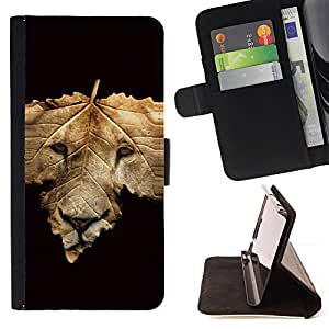 Abstract Lion Face - Painting Art Smile Face Style Design PU Leather Flip Stand Case Cover FOR HTC One M7 @ The Smurfs