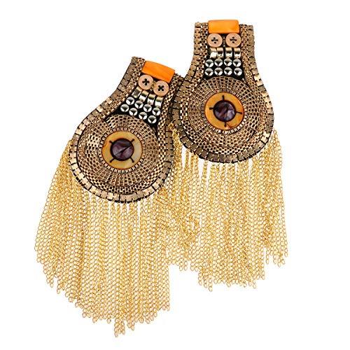 IEFIEL 2Pcs Halloween Blazer Epaulet Tassel Link Chain