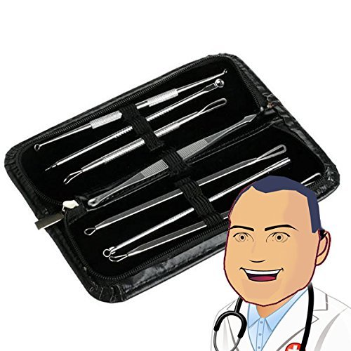John Gilmore's Super Pimple Popper Kit - Comedone Extractor Tools for Blackheads, Zits, Acne and Pimple Popping (Case with 7 Tools)