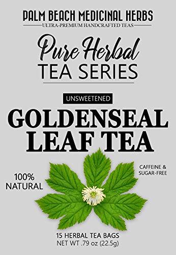 Goldenseal Leaf Tea - Pure Herbal Tea Series by Palm Beach Medicinal Herbs (15 Tea Bags) 100% Natural - Goldenseal Tea Bags