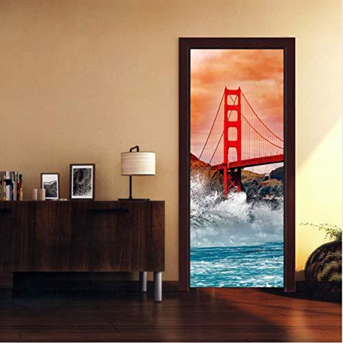 (AKLIG Door Sticker Mural Sling Bridge for Bedroom Bathroom Ep Self-Adhesive PVC Wall Sticker, 77X200Cm)