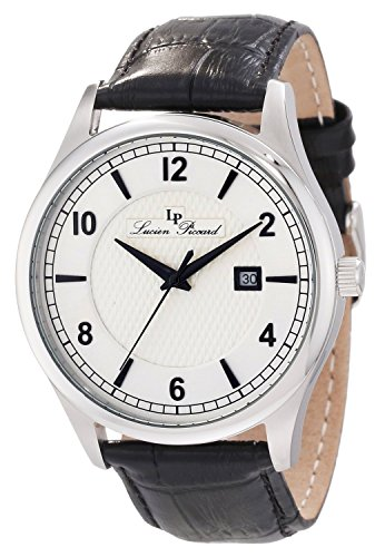 Lucien Piccard Men's 11581-02S Weisshorn Silver Textured Dial Black Leather Watch