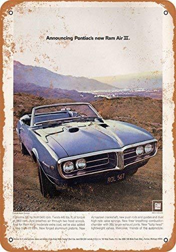 FemiaD Vintage Look Tin Sign 12 x 16-1968 Pontiac Firebird Ram Air II