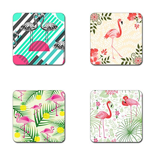 Flamingo Coasters - Newing Beautiful flamingos Beautiful flamingos pattern square coaster set - Made of recycled rubber - set of 4