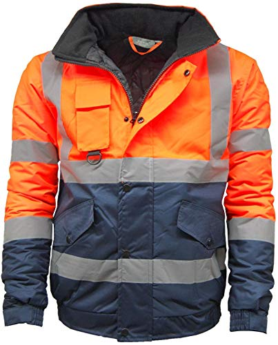 KAPTON. Mens Waterproof Hi Visibility Two Tone Safety Quilted Bomber Jacket Standard Safety Work Wear Jackets Orange/Navy XXXXX-Large by KAPTON. (Image #1)