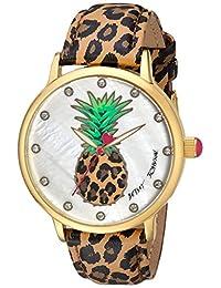 Betsey Johnson Women's BJ00496-60 Pineapple Motif Dial and Leopard Strap Watch