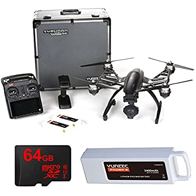 Yuneec Q500 4k Typhoon Quadcopter Drone 3-Axis Gimbal Camera, Steady Grip, Deluxe Case with 2 Batteries and 64GB Card from Yuneec