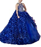 ChenFeL Flower Girls' Ruffles Royal Party Gowns Kids Pageant Dresses 16 US Blue