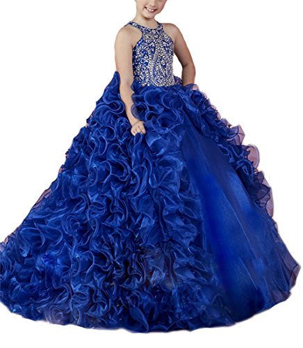 ChenFeL Flower Girls' Ruffles Royal Party Gowns Kids Pageant Dresses 16 US Blue by ChenFeL