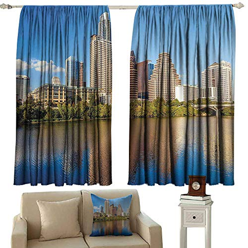Anyangeight Yellow Curtains Apartment Decor Collection,View of Austin and Texas Summertime Sunny Day Park Shores Waterscape Picture,Blue Green Ivory 54