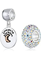 CHARMED BEADS Sterling Silver Love You To The Moon Crystal Bead Charm Set