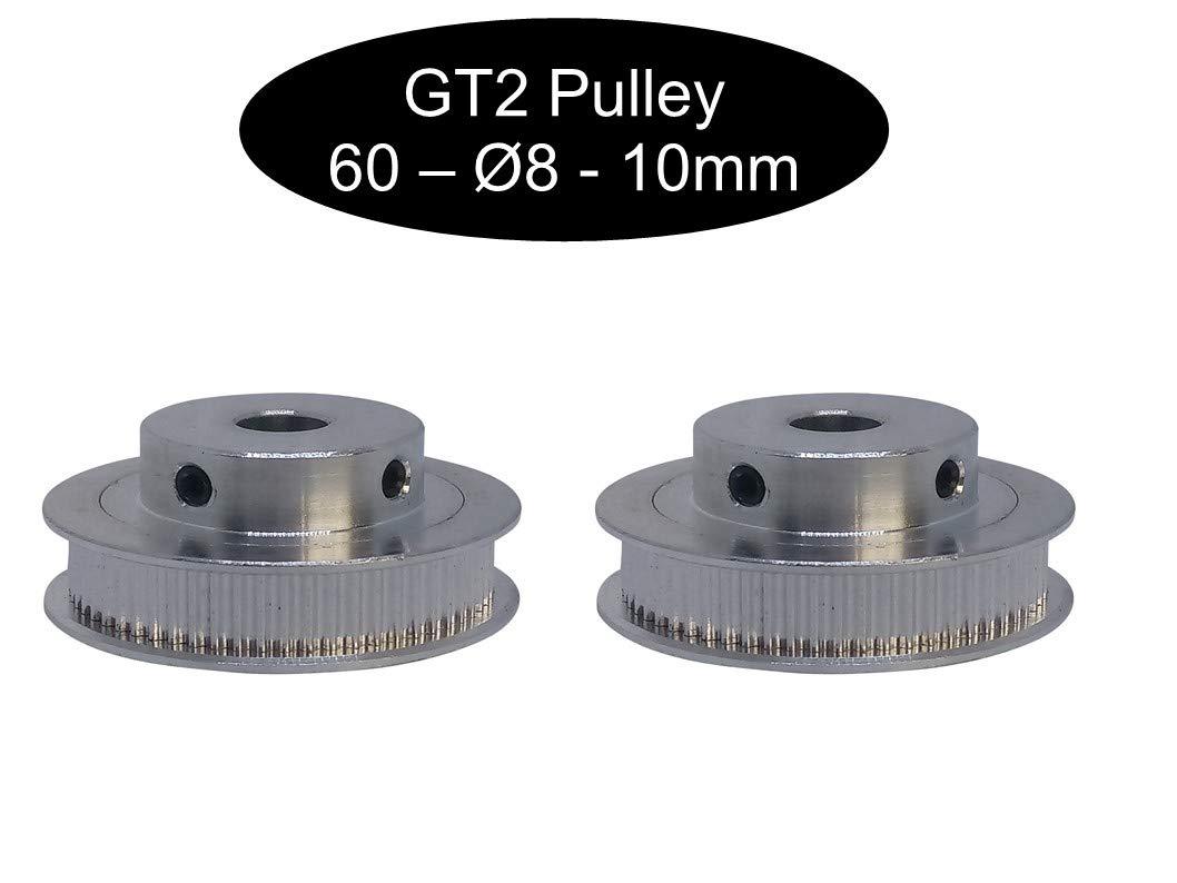 1 GT2 12Z /Ø5mm polea Pulley seg/ún el ancho a elegir 2 poleas GT2 de 10 mm de ancho 18 o 20 dientes 12 16
