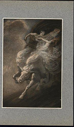(Lovers Riding Charging Horses Frantic Pace Billow c.1910 antique color art print)