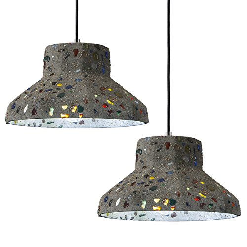Vintage Cement Pendant Light, Motent Industrial 10.2 inches Dia Modern Minimalist Cement Ceiling Light Concrete Hanging Light Fixture for Resturant Bar Kitchen - 2 Packs ()
