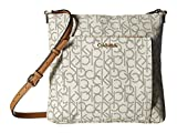 Calvin Klein Women's Eliza Monogram Crossbody Almond/Khaki/Cashew Crossbody Bag
