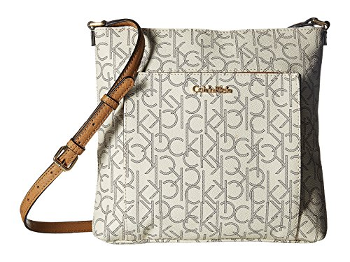 Calvin Klein Women's Eliza Monogram Crossbody Almond/Khaki/Cashew Crossbody Bag by Calvin Klein