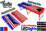 2-in-1 Cornhole Boards & Beer Pong Table w/Color-Changing LED Glow Lights - America Edition