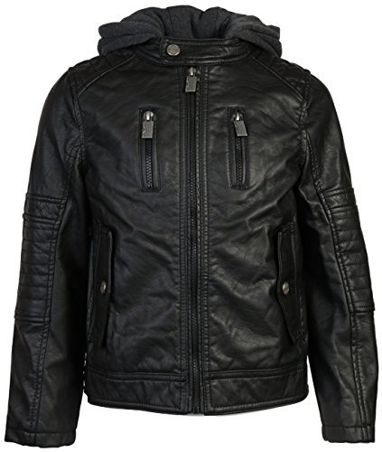 Urban Republic Boys Faux Leather Biker Hooded Jacket, Black w/Flap Pocket, 10/12']()