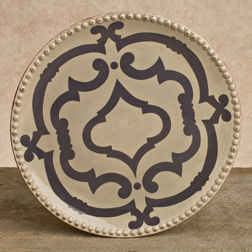 GG Collection 11 in. Ogee-G Dinner Plate, Set of 4, Taupe/Gray