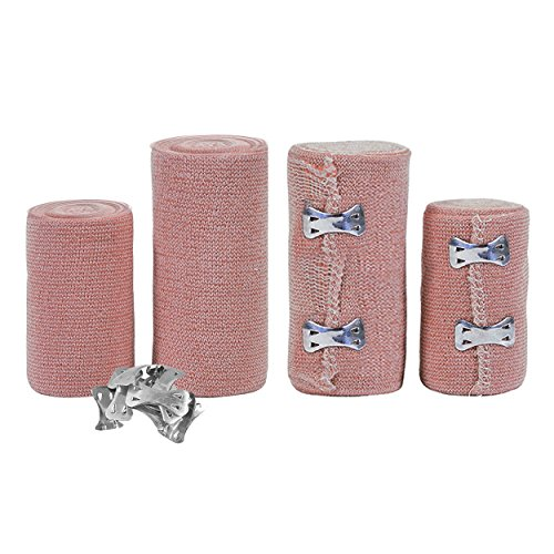 FlexTrek Set of 4 Elastic Bandage Wrap Compression Roll with Extra Metal Clips - Latex Free Medical Supplies - Great for Ankle Support, Arm, Leg or Chest Injury - 2 Rolls of 3