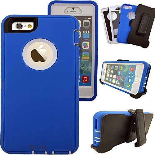 iphone 6s Plus Case,Kecko® Shockproof High Impact Tough Rubber Rugged Hybrid  Case Cover Skin w/ Built-in Screen Protector&Belt Clips for iphone 6 Plus/6S Plus-Rose/Black/Blue (B/W)