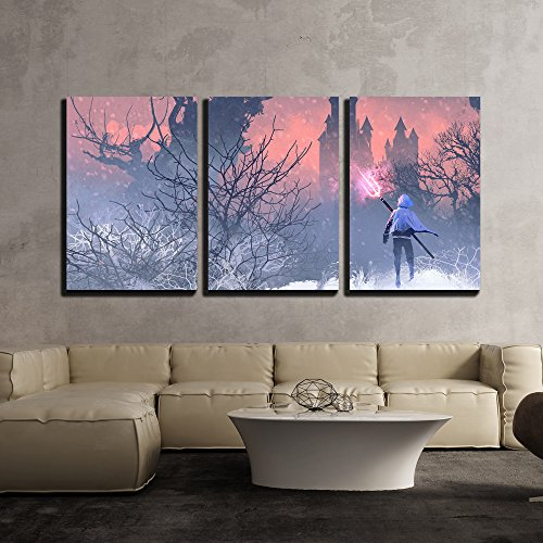 Illustration Knight with Trident in Winter Landscape Illustration Painting x3 Panels
