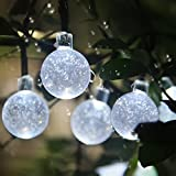 Solar String Lights,ETTG 30 LED 20ft Crystal Ball Christmas Lights Decorative Lighting for Indoor, Garden, Home, Patio, Party and Holiday Decorations-White