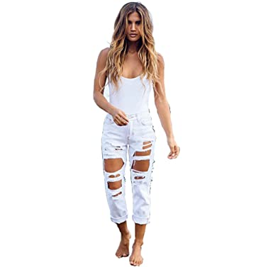 286afef24ac White S Blue XL Womens Sexy Destroyed Hole Skinny Faded Ripped Pants Casual  Denim Cotton Pull