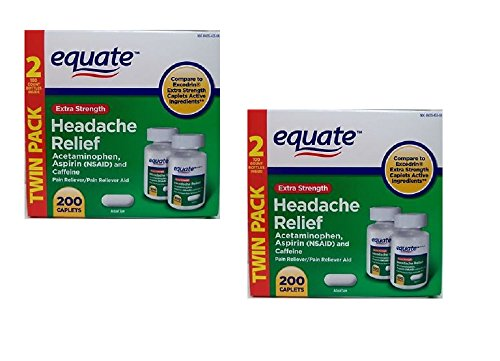 Equate Extra Strength Headache Relief 2-Pack (400 caplets) Compare to Excedrin Extra Strength (Headache Relief Tablets)
