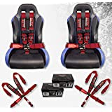 STV Motorsports V-Type 5 Point Racing Harness Set Latch and Link 3 inch Safety Seat Belt for Off-Road racing, UTV, Trucks, Side by Side 2 PCS (Red)