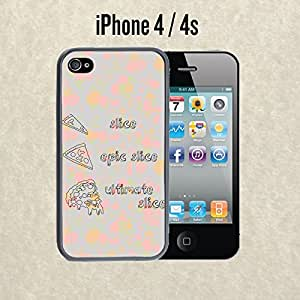 iPhone Case Pizza Epic Slice for iPhone 4 / 4s Plastic Black (Ships from CA)