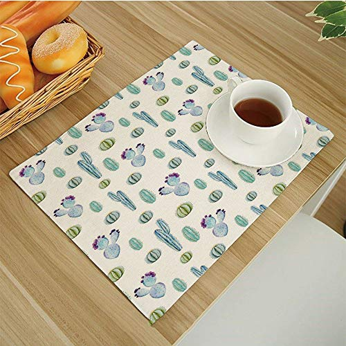 Botanic Blue Placemats - Set of 6 Non-Slip Insulation Placemats for Dining Table,Kitchen Place Mats Coffee Mats Heat-Resistant Jacquard Table Mats,Cactus-Decor Blue Botanic Desert Flowers with Spikes Pattern Types of Desert C