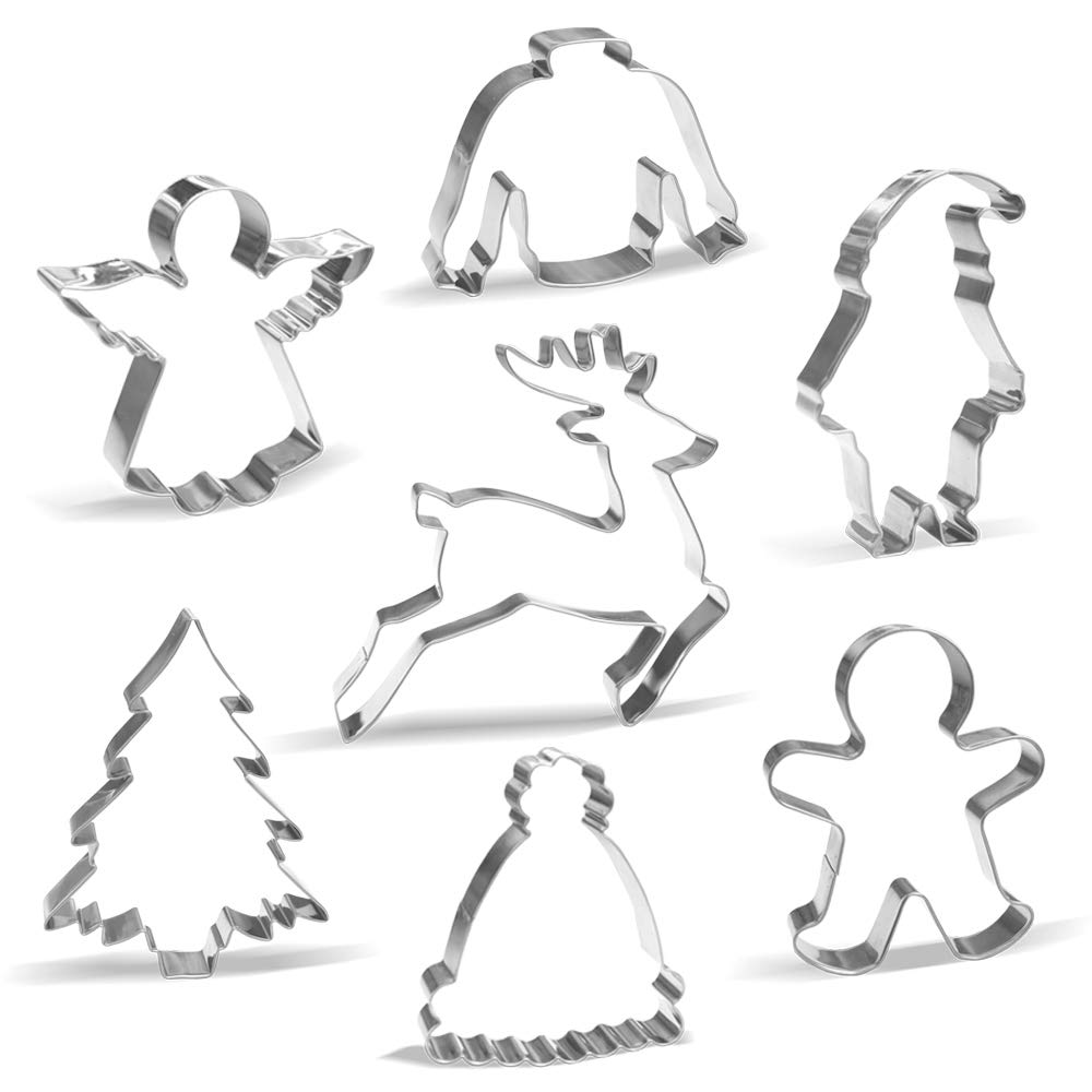 Large Christmas Cookie Cutter Set - 7 Piece - Santa, Reindeer, Gingerbread man, Christmas Tree, Angel, Ugly Sweater, Winter hat - Stainless Steel