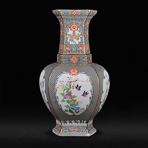 - All Décor Chinese Porcelain Vase Flower Home Office Decor Hand Made and Hand Painted Porcelain 20 inches Tall