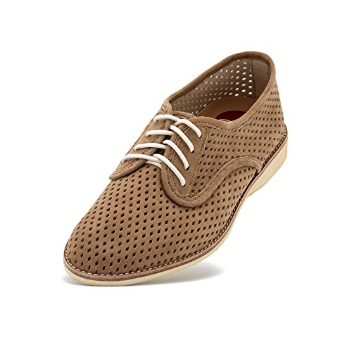 (Rollie Women's Derby Punch Taupe Suede, Perforated Suede Oxfords Brown Flat Shoes for Women with Holes Perforations, Size 10 US / 41 EU)