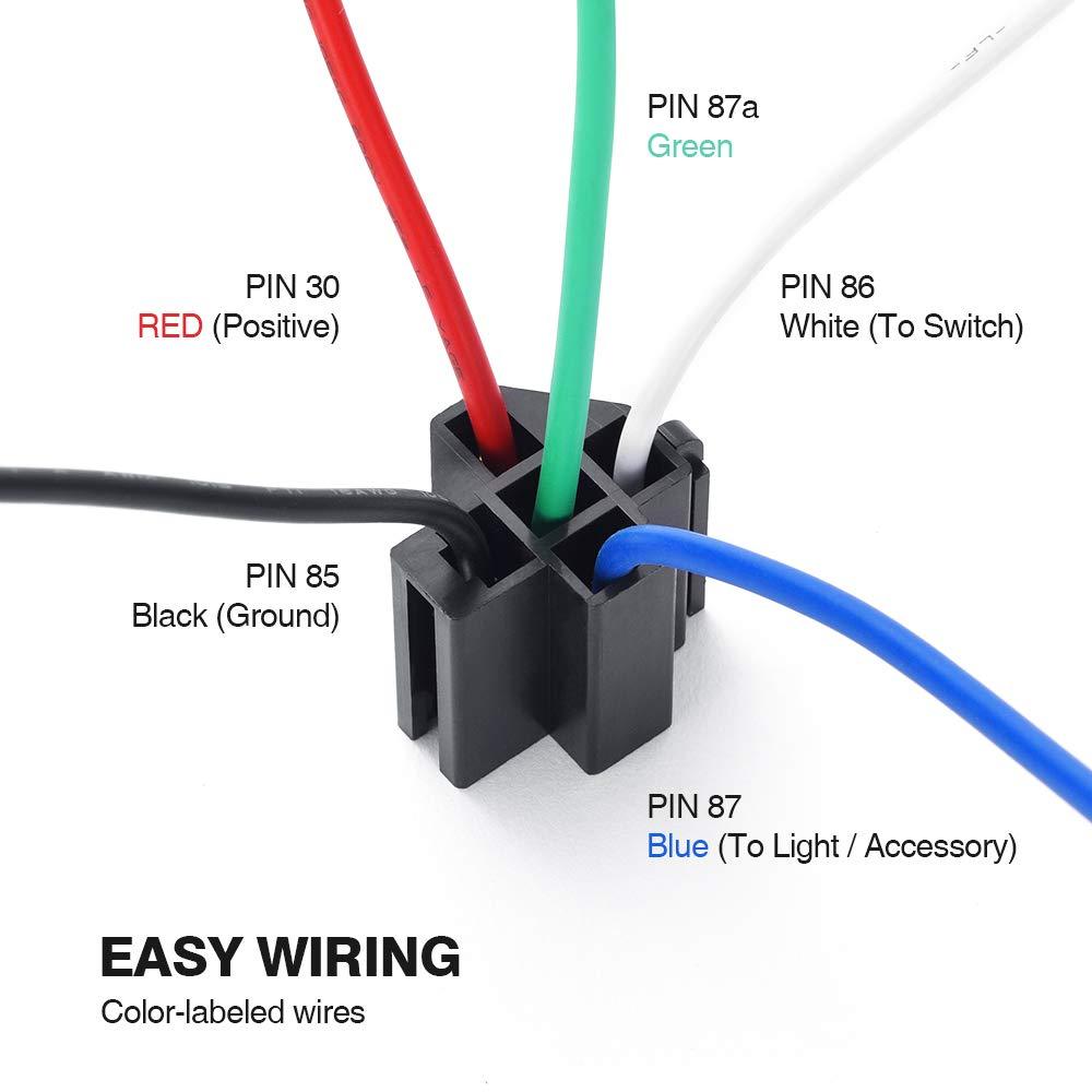 mictuning 12 V Relé Juego con fusible - 30 A ATO/ATC ...