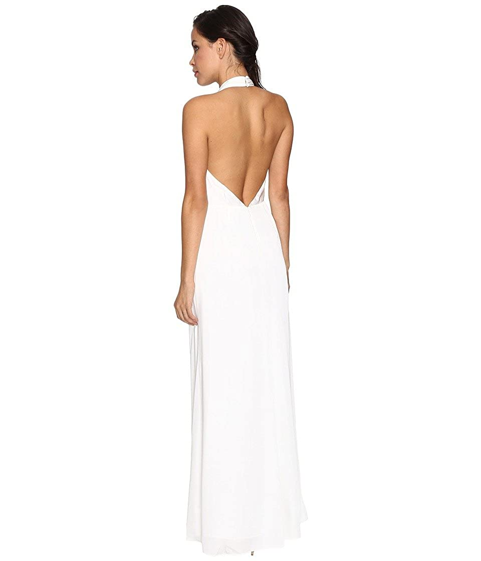 Jill Stuart Silk Plunging Halter Gown