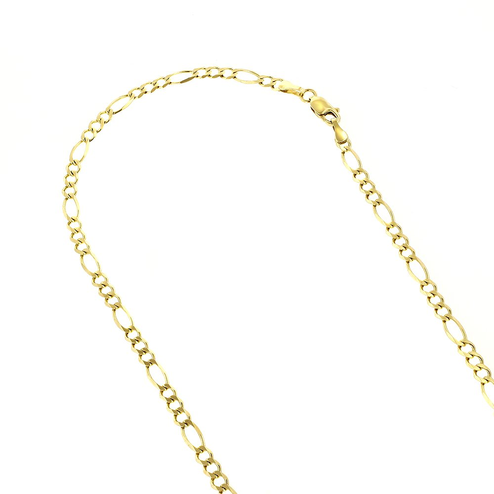 Luxurman 14k 10'' Yellow Solid Gold 2.8mm Diamond Cut Classic Figaro Chain Bracelet Anklet Lobster Clasp
