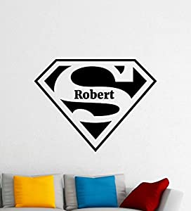 Amazoncom Custom Name Superman Logo Wall Decal Comics - Custom vinyl wall decals logo