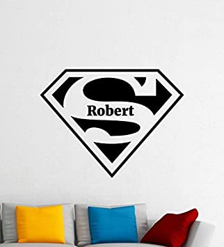 Custom Name Superman Logo Wall Decal Comics Personalized Superhero Vinyl  Sticker Nursery Wall Art Teen Kids