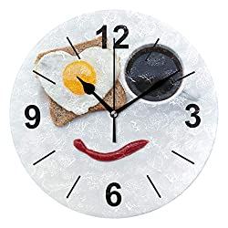 Wall Clock Round Food Bread Heart Coffee Cup Breakfast 10 Inch Diameter Silent Decorative for Home Office Kitchen Bedroom